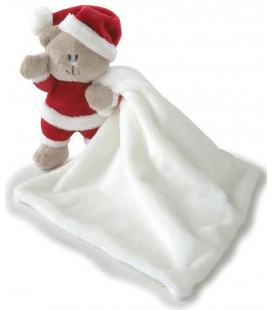 Doudou Peluche Ours Kimbaloo La Halle Père Noel Rouge Blanc Mouchoir