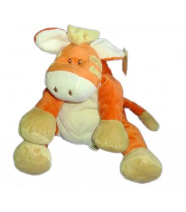 """Doudou peluche Ane Cheval Poney Horse Pony Beige Orange L. DAKE en Zn H 26 cm 10"""" 64 in"""