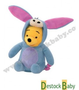 Doudou Peluche Winnie l'ourson déguisé Bourriquet Disney 18 cm