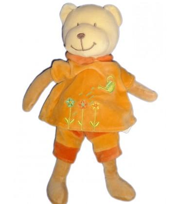 Doudou OURS orange POMMETTE arrosoir Fleurs H 30 cm