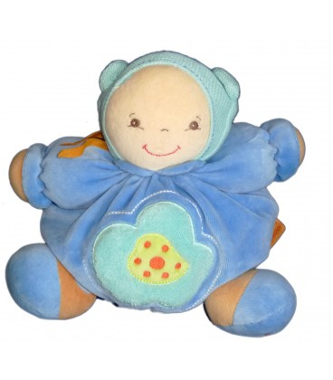 KALOO Doudou Mon Premier Poupon CHUBBY BABY Patapouf Bleu Turquoise Fleur verte