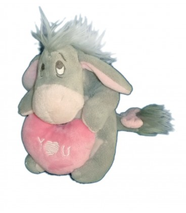 Doudou peluche BOURRIQUET gris Coeur rose I love you 16 cm