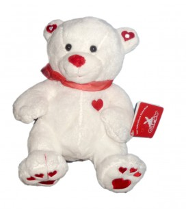 Peluche Doudou OURS Blanc coeur rouge GIPSY H 22 cm ** Boitier HS ***