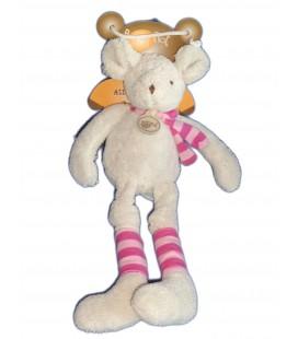 Doudou SOURIS grise BABY NAT Babynat Pantin Longues jambes Echarpe rose rayures H 30 cm