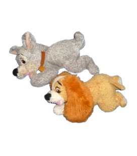LOT - 2 peluches doudous LA BELLE ET LE CLOCHARD - Disney L 30 cm