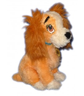 Peluche CHIEN Lady LA BELLE ET LE CLOCHARD L 26 cm H 30 cm Authentique Disney