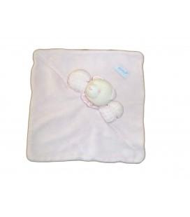 Doudou plat carré ours rose Vichy blanc Jacadi