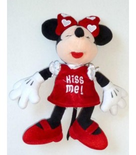 Doudou peluche MINNIE - Kiss Me - Robe rouge - Disney - 28 cm