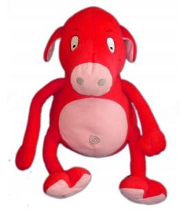 COCHON rouge rose Gros bidon - Peluche d'activité - BERCHET Favre - Parle Change Rigole H 32 cm