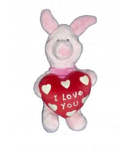 Peluche doudou PORCINET Coeur I love you H 20 cm