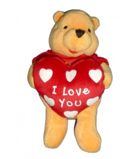 Peluche doudou WINNIE L'OURSON Coeur I love you H 18 cm Disney Nicotoy