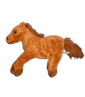 Peluche Doudou CHEVAL Poney marron CP INTERNATIONAL L 27 cm + queue