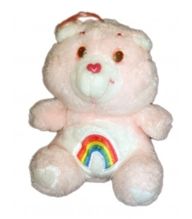 VINTAGE PELUCHE BISOUNOURS CARE BEARS PLUSH GROSFARCEUR OU GAILOURSON CHEER BEAR ROSE PALE ARC EN CIEL KENNER 16 CM