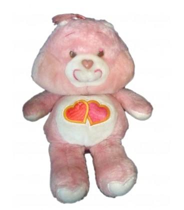 Bisounours Groscheri Love A Lot Bear 2 coeurs - Peluche Vintage 34 Cm Kenner