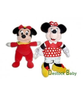 Lot de 2 peluches doudou DISNEYLAND - Minnie 30 cm + bébé Minnie en pyjama 24 cm