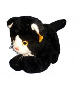VINTAGE - Peluche doudou CHAT noir Steiff L 20 cm + queue 15 cm