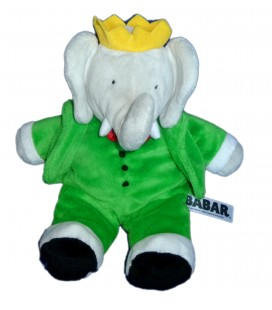 Peluche Doudou Elephant BABAR gris vert LANSAY H 26 cm debout