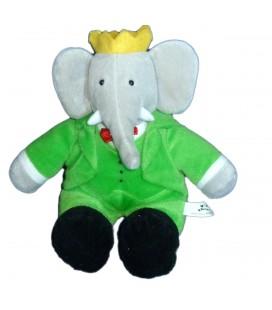 Peluche Doudou Elephant BABAR gris vert Assis 22 cm