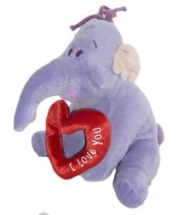 Doudou peluche LUMPY Efelant Elephant mauve 22 cm Disney Nicotoy Coeur I Love You