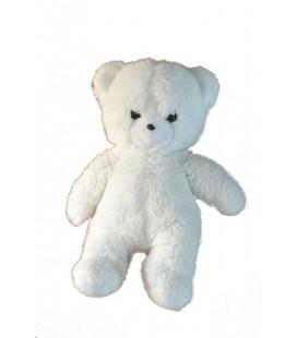 ancien Doudou peluche Ours blanc BOULGOM - Yeux nez noirs - 30 cm