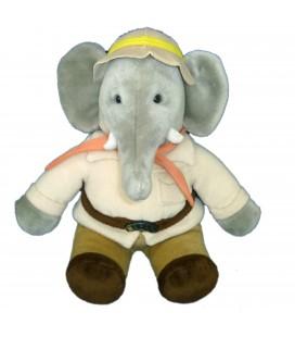 COLLECTOR - Peluche Doudou Elephant BABAR Explorateur Chasseur - H 35 cm debout