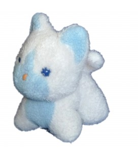 Petite Peluche CHAT blanc bleu pastel Boulgom Cat Plush H 16 cm x L 12 cm Fabriqué Made in France