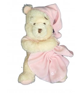 Doudou peluche longs poils WINNIE The Pooh Plush Mouchoir couverture rose H 25 cm assis Disney Store