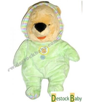 Doudou peluche Winnie l'ourson Pyjama Grenouillère verte - Disney Nicotoy 30 cm