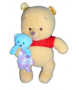 Peluche doudou WINNIE L'OURSON et son doudou Mouchoir - Grelot - H 28 cm - Fisher Price
