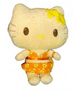 Peluche doudou HELLO KITTY Tahitienne Vahinée Licence Sanrio H 22 cm Fleurs jaunes Habits oranges