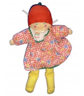 Doudou poupée Tissu Chiffon COROLLE - Robe Vichy rouge - Corps jaune - H 32 cm 1997