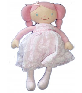 Doudou poupée Tissu Chiffon COROLLE - Robe rose blanche -H 38 cm 2007