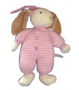 Doudou LAPIN Pyjama rose rayures COROLLE - H 38 cm