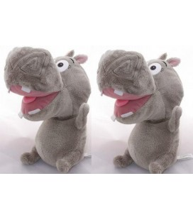 *LOT DE 2* - Doudou Peluche Hippopotame Gloria MADAGASCAR BIG HEADZ 26 cm
