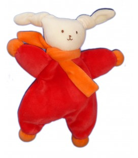 Doudou Lapin COROLLE - Blanc rouge Echarpe orange - H 26 cm - 2008 - Grelot Hochet