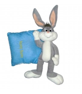 Peluche Lapin BUGS BUNNY Hunny sur coussin - LOONEY TUNES - H 40 x l 25 cm