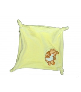 Doudou plat jaune WINNIE L'OURSON Fermeture éclair - Can't Wait to go to bed - 4 noeuds - Disney 22x22 cm