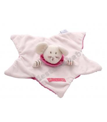 JaCaDI Doudou plat souris rose étoile Les Petites fées
