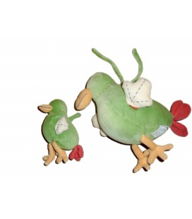 Doudou peluche Poule Canard Oiseau Musicale JaCaDI et son bébé Vert Grelot