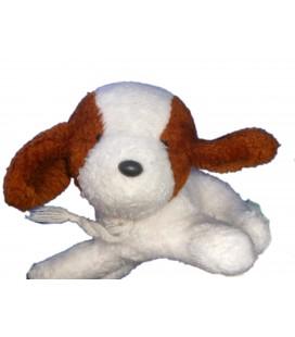 Doudou peluche CHIEN blanc marron BOULGOM - L 22 cm