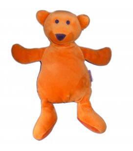 Doudou peluche OURS orange MARESE H 30 cm Nez Violet