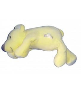 Doudou peluche OURS jaune nez violet - MARESE L 30 cm