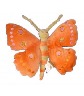 Doudou peluche PAPILLON orange Vert - MARESE H 24 cm