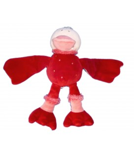 Doudou peluche Oiseau Canard rouge CATIMINI - H 24 cm