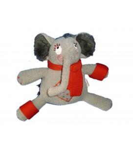 Doudou peluche ELEPHANT gris Echarpe rouge CATIMINI - H 20 cm