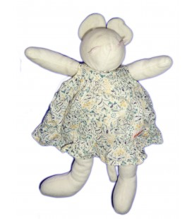 Doudou peluche SOURIS blanche CACHAREL - MOULIN ROTY - H 28 cm - Grelot