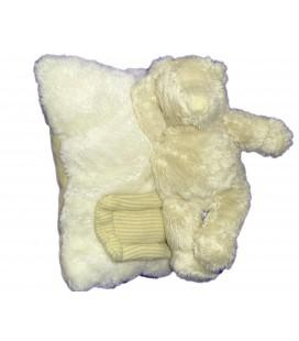 Doudou peluche OURS blanc Musical sur coussin - MOULIN ROTY - L 20 cm x 15 cm