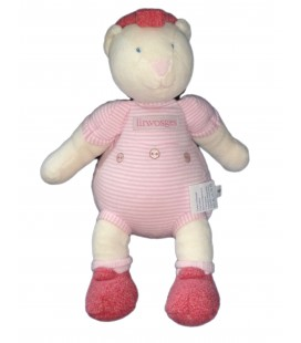Doudou Peluche OURS rose Linvosges - MOULIN ROTY - H 28 cm