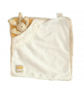 Doudou plat LAPIN blanc beige - MOULIN ROTY - Basile et Lola - Carré 24 cm