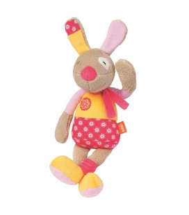 Doudou CHIEN Lapin Ding Dong Bobby Bel Oeil framboise BaBYSUN - 32 cm - Grelot